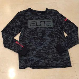 Men's Black Camo NIke Elite LS Dri Fit Sz L